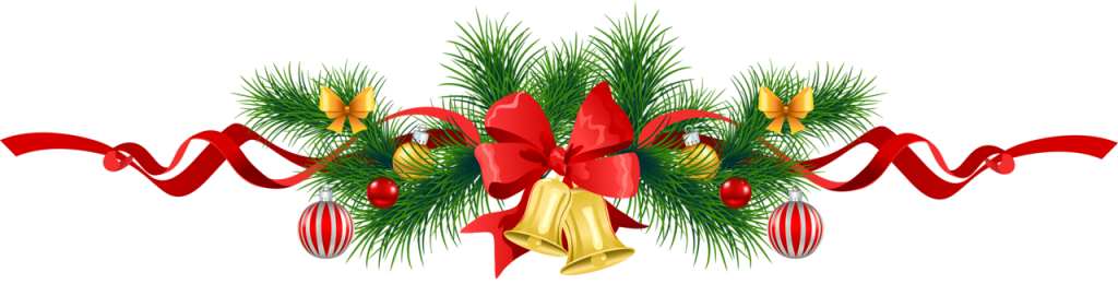 Transparent Christmas Pine Garland with Gold Bells Clipart-1024x260